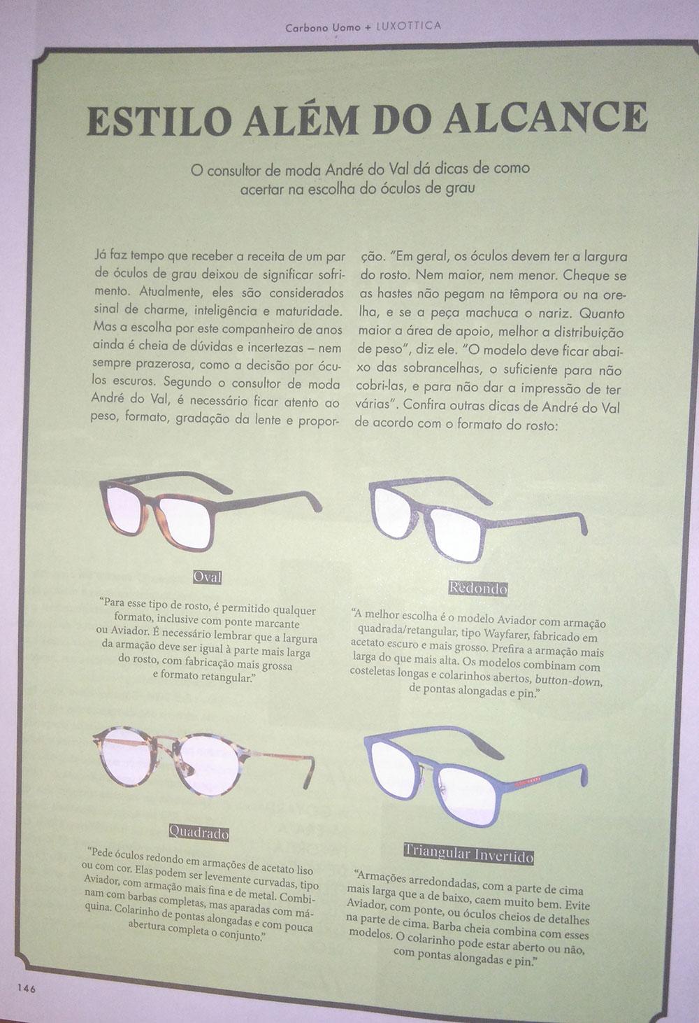 90f93828c21c1 Luxottica  FrameYourFace - Moda masculina, por André do Val